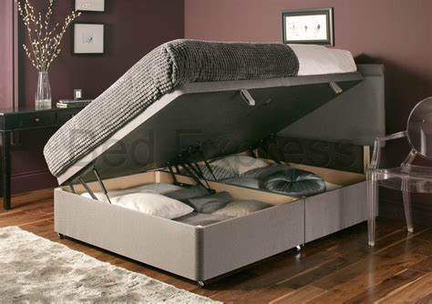 luxury chenille ottoman divan storage bed single double