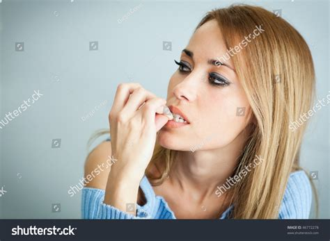 thirty year old women in shape portrait 30 years old woman biting stock photo 46772278