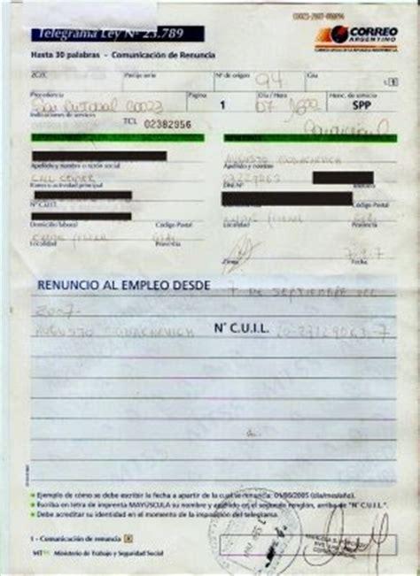 telegrama de renuncia correo argentino taringa compa 241 eros del correo argentino telegrama de rechazo si