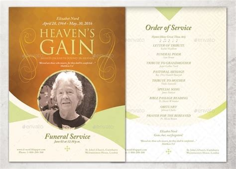 21 Free Free Funeral Program Template Word Excel Formats Memorial Program Template