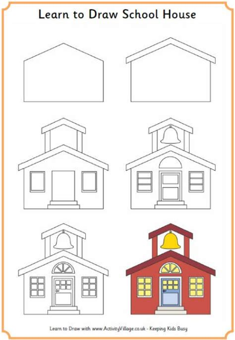 printable school house learn to draw a school house printables back to