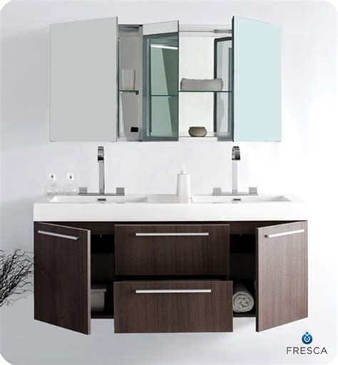 bathroom vanity with medicine cabinet 54 fresca opulento fvn8013go gray oak modern double