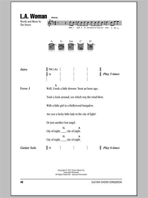 Lyrics L A The Doors by The Doors L A Lyrics Chords Sheetmusicdirect