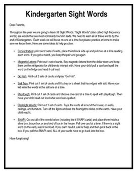 Parent Letter To Practice Sight Words 17 Best Images About Sight Words On Third Grade Reading Progress Monitoring And Student