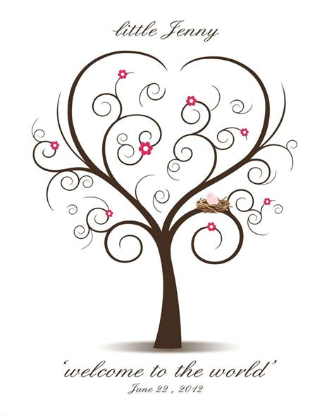 baby shower fingerprint tree printable pdf file
