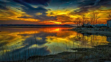 yellow sunset   lake    hdtv p wallpaper