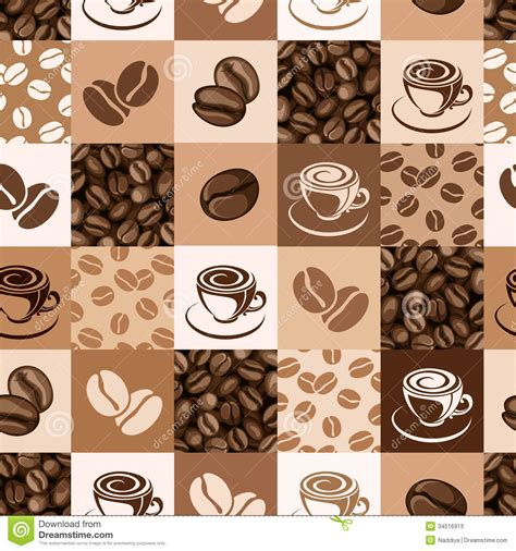 seamless pattern coffee seamless pattern with coffee beans and cups stock photos