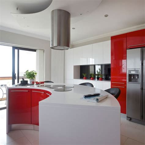 red kitchens with white cabinets modern red and white kitchen kitchen housetohome co uk