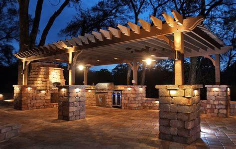 Outdoor Lighting Ideas For Pergolas Project Stunning Outdoor Kitchen Pergola Volt Lighting