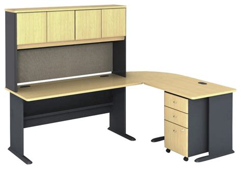 Beech Corner Computer Desk Bush Series A 5 L Shape Computer Desk In Beech Transitional Desks And Hutches By Cymax