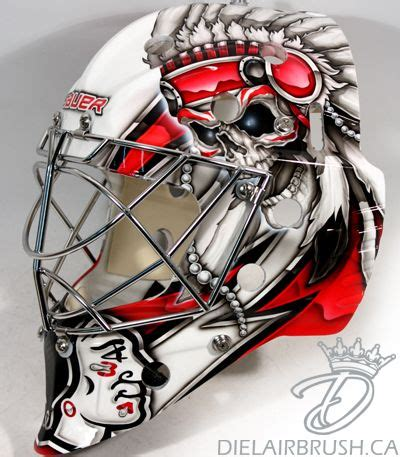 design goalie helmet chicago blackhawks hockey and skulls on pinterest