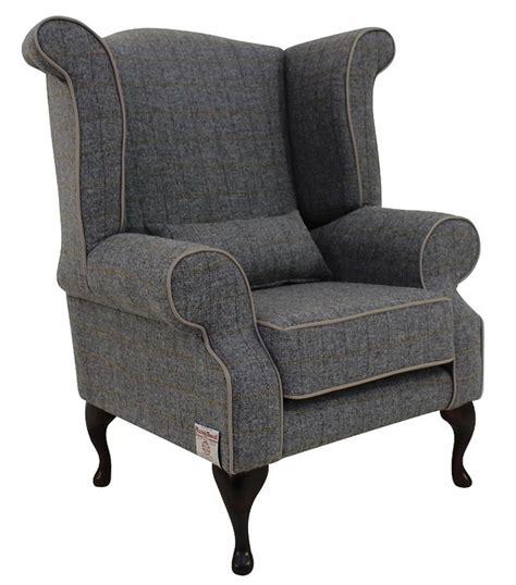 Grey Check Armchair Chesterfield Edward Wool Tweed Wing Chair Designersofas4u