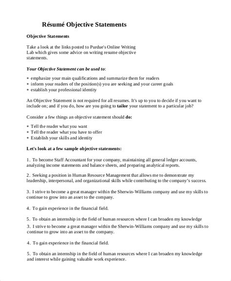 an objective statement for a resume general resume objective sle 9 exles in pdf