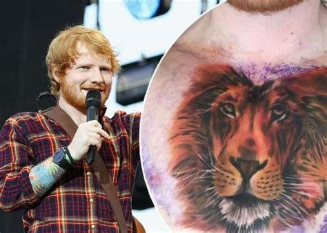ed sheeran new tattoo on his chest ed sheeran s new tattoo lion on his chest