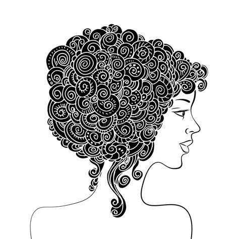 doodle hair vector silhouette of a beautiful with curly hair