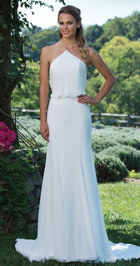 Sleek And Thin Straps Dress picture of a sleek modern halter neckline wedding dress with straps and an accent on the waist