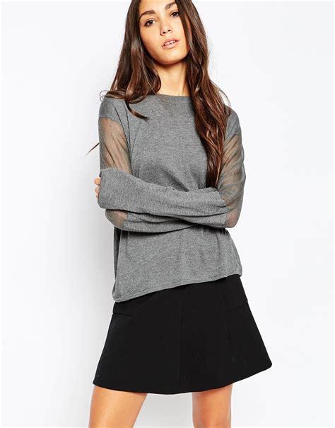 sheer sleeve top lyst minimum sleeve top with sheer sleeves in gray