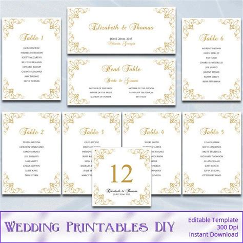 Gold Wedding Seating Chart Template Diy Elegant Printable Reception Table Plan List Cards Table List Wedding Template