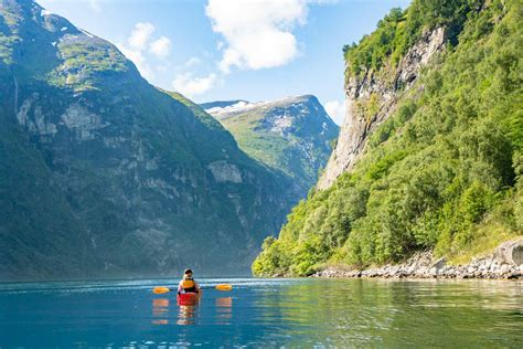 fjord water padling in the mighty geirangerfjord trails of norway