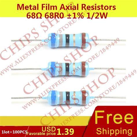 68k 0 5w 1 2w Qty 100pcs Resistor Smartelectronic 1lot 100pcs metal axial resistors 68ohm 68r0 1 1 2w 0 5w wattage1 2w electronic components