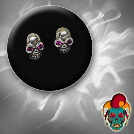 tattoo parlor earrings purple eyed skull silver earrings village tattoo nyc