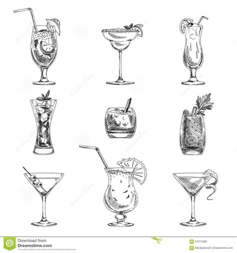 cocktail sketch vector hand drawn set of cocktails and alcohol stock
