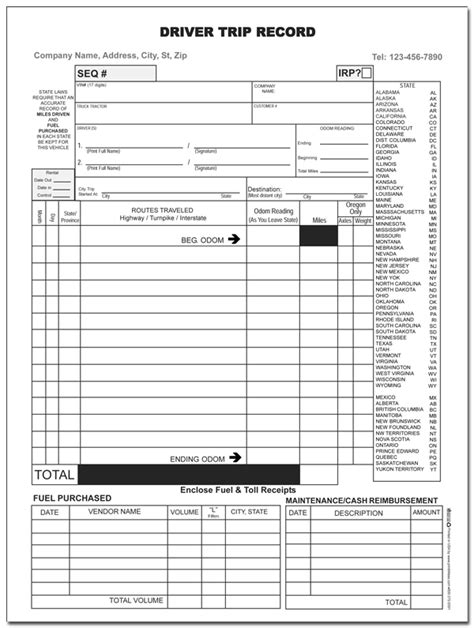 truck drivers trip sheet template inspection log sheets