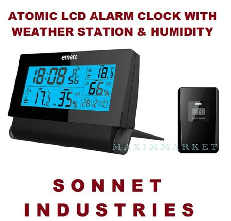 wireless weather station atomic radio controlled lcd alarm clock color display ebay
