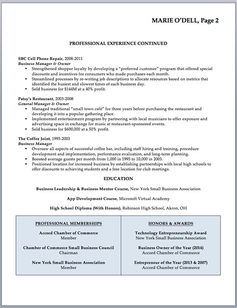 Business Resume Sles Business Owners Business Owner Resume Sle Writing Guide Rwd