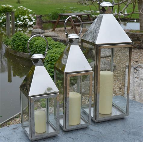 Garden Candle Lanterns Stainless Steel Garden Candle Lantern By Za Za Homes