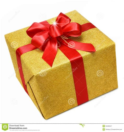 gold gift box with smart red bow royalty free stock
