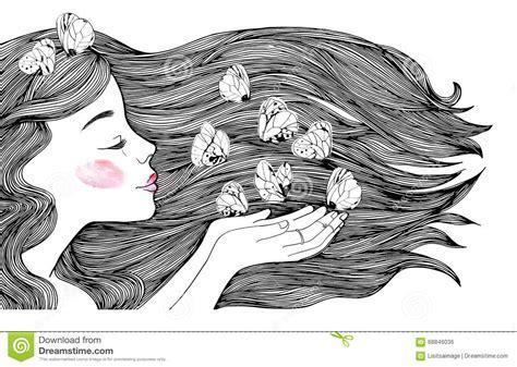 imagenes blanco y negro chicas retrato del perfil de la chica joven y mariposas blancas