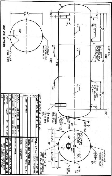 code section 731 epoxy lined horizonal water tank specs drawing wk629b
