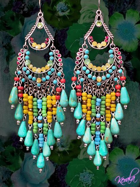 Kalung Fashion Three Big Flower Pendant Decorated Simple Design colorful beaded chandelier earrings large