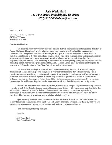 cover letter for veterinarian veterinary associate position cover letter sles and