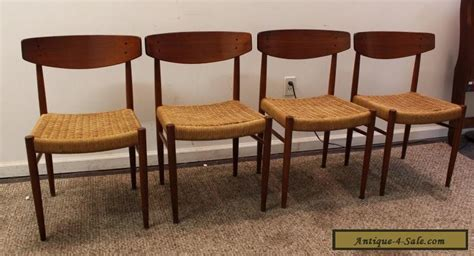 set of 4 mid century modern rope teak dining chairs