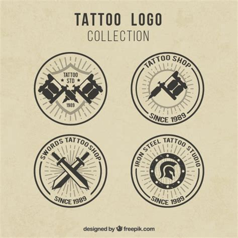 download free tattoo logo vector pack of retro logos for tattoo studios vector free download