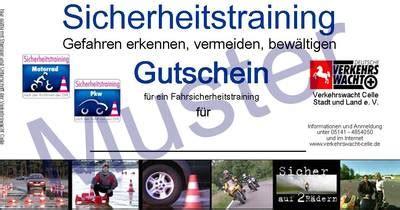 Motorrad Fahrsicherheitstraining Bremen by Verkehrswacht Celle E V Gutscheine