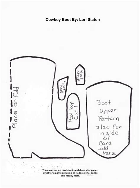 cowboy boot template boot template paper crafts