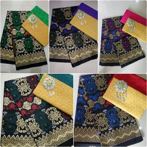 Kain Batik Prada Pekalongan Motif Songket Set Embos Warna Biru kombinasi kain batik prada dan kain embos ka3 2 batik pekalongan by jesko batik