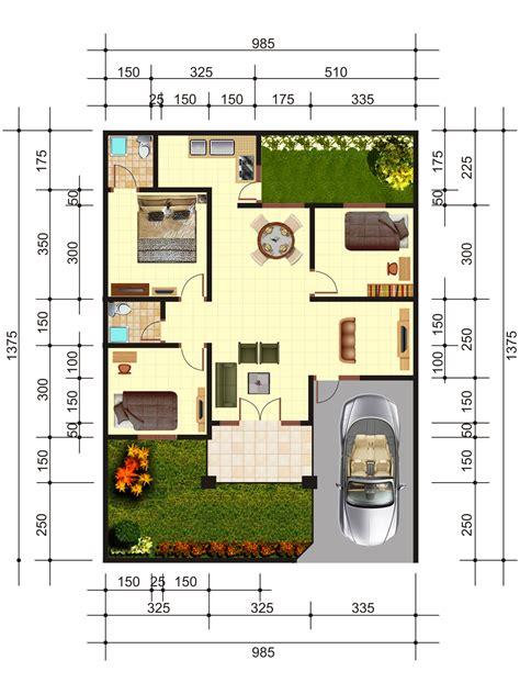 Tempat Tidur Nomor 2 denah rumah 3 kamar tidur simple dan nyaman fimell
