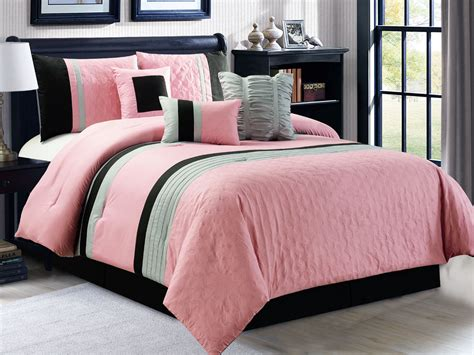 silver ruffle comforter new 7 pc queen size embossed pleated ruffle pink black
