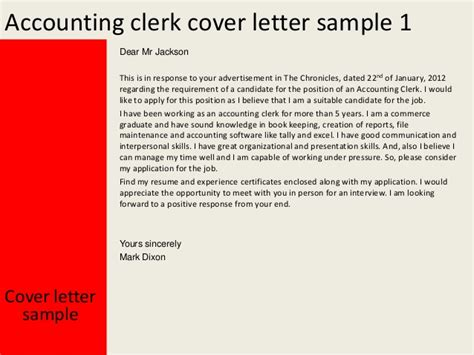 Tally Clerk Cover Letter by Accounting Clerk Cover Letter