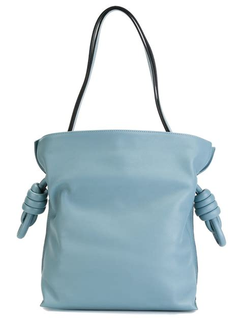 lowe bags loewe large flamenco leather shoulder bag in blue lyst