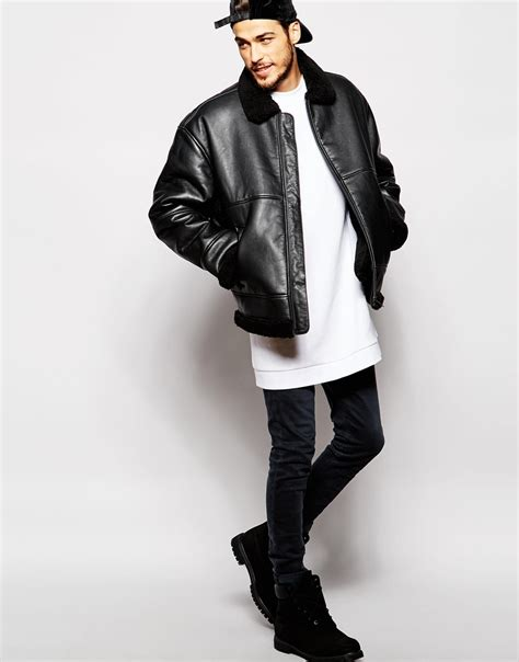 oversized black leather weekday shearling leather jacket oversized in black for