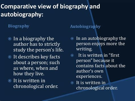 teaching difference between biography and autobiography biography and autobiography in social sciences
