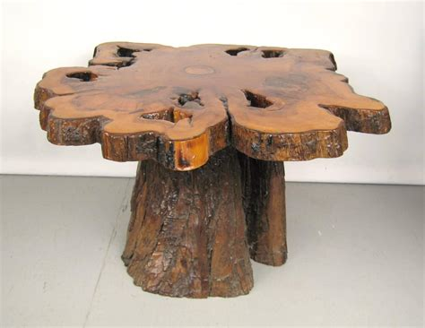 Coffee Table Tree Stump Form Tree Slab Top And Stump Coffee Table For Sale At 1stdibs