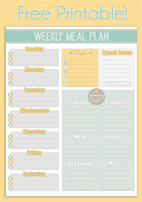 weekly meal calendar template healthy weekly meal plan