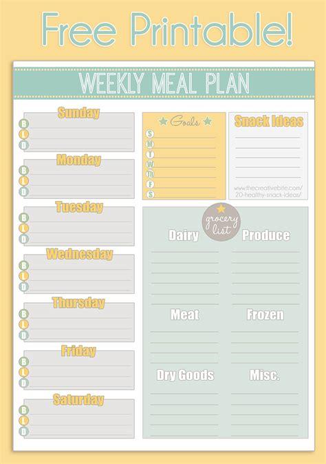 printable weekly meal planner calendar