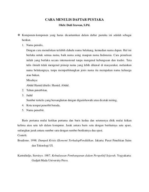 format daftar pustaka dari jurnal ilmiah contoh daftar pustaka karya ilmiah bahasa indonesia